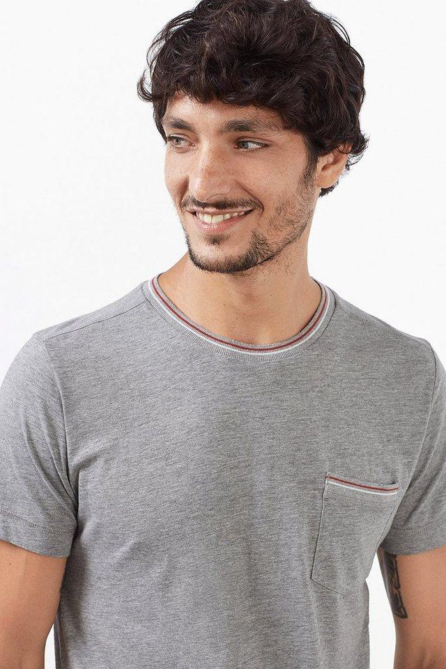 ESPRIT CASUAL Baumwoll Jersey T-Shirt mit Tasche in MEDIUM GREY