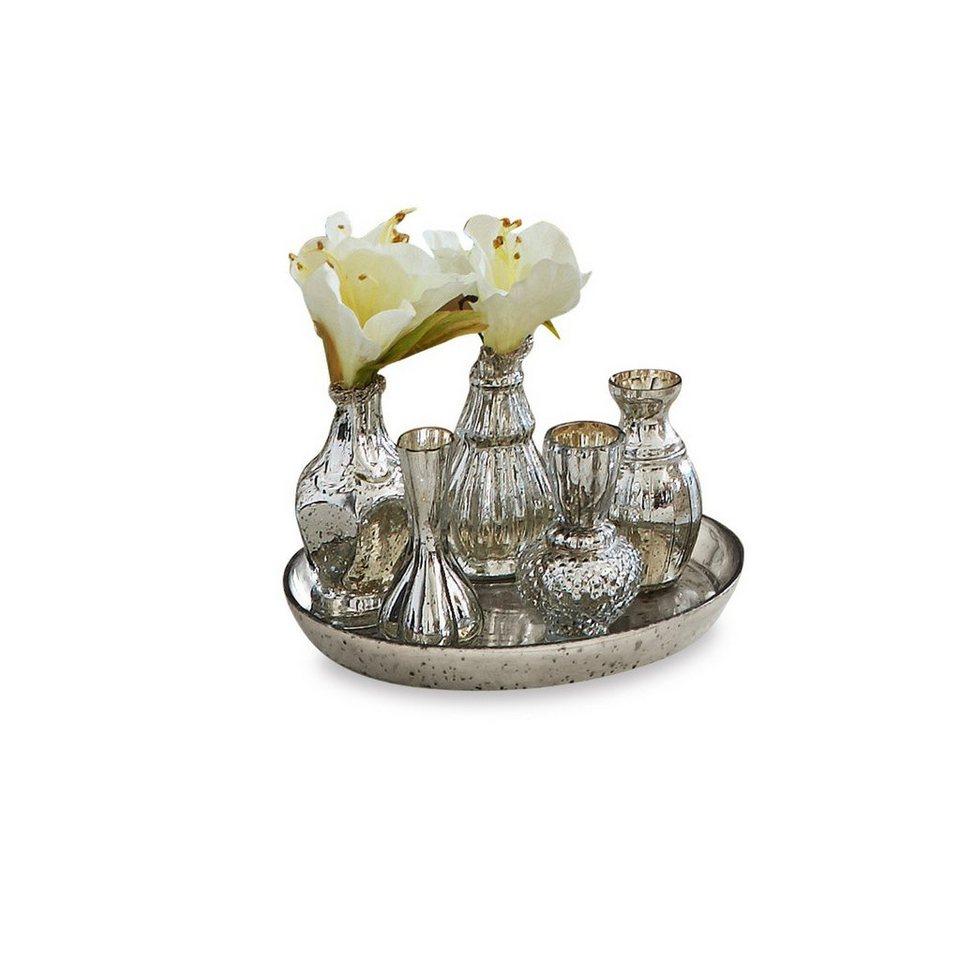 Loberon Tablett mit Vasen »Eleonoire« in antiksilber