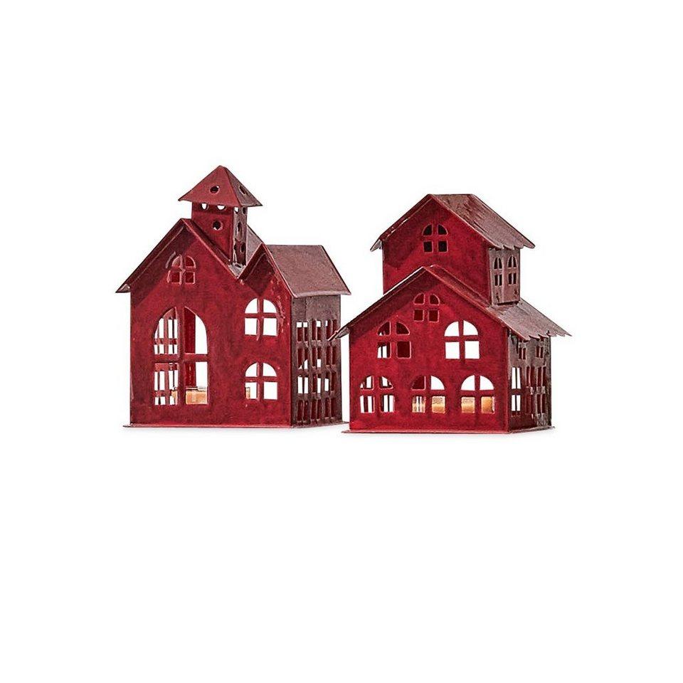 Loberon Windlicht 2er-Set »Village« in rot