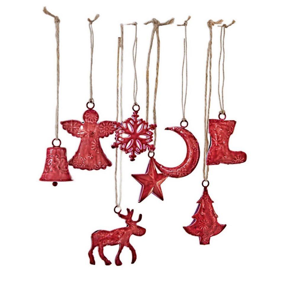 Loberon Weihnachtsschmuck 8er-Set »Rudy & Co.« in rot