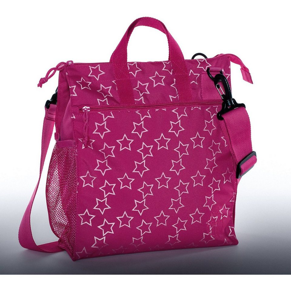 Lässig Wickeltasche Casual, Buggy Bag, Reflective Star, magenta in pink
