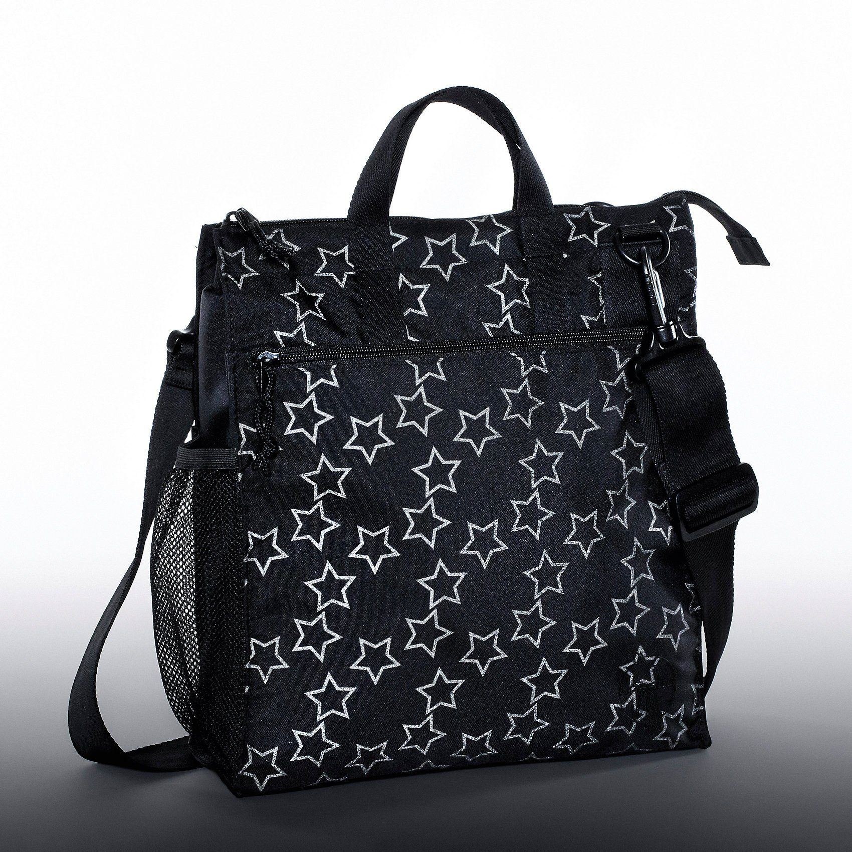 Lässig Wickeltasche Casual, Buggy Bag, Reflective Star, black