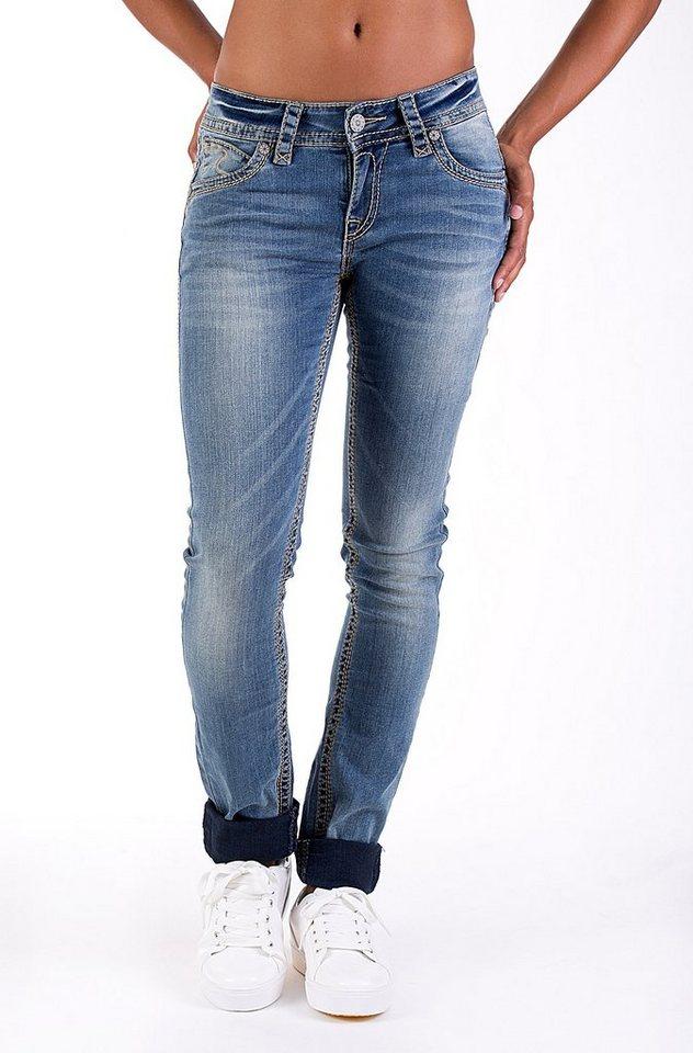 Blue Monkey Skinny-fit-Jeans »Laura 3491« in blau