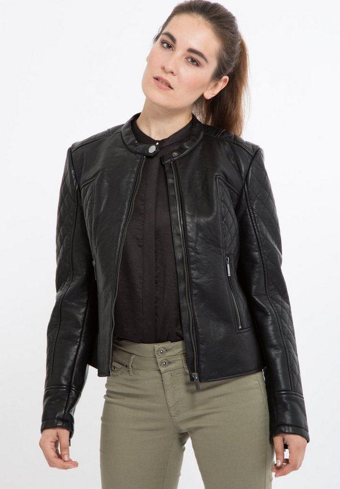 Mexx Lederimitatjacke mit flachem Stehkragen und Zippertaschen in schwarz