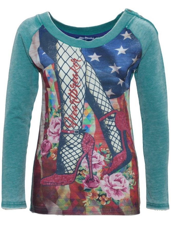 Blue Monkey Sweatshirt »Red Shoes Style 7 17-4919« in green