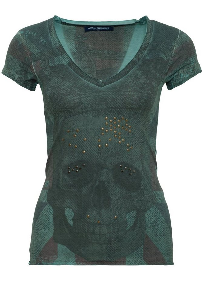 Blue Monkey T-Shirt »Skull Britain Style-1 17-4919« in green