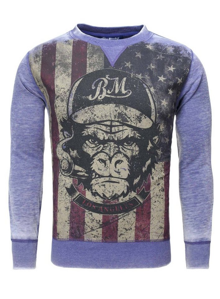 Blue Monkey Sweatshirt »Monkey Style 2 19-4005« in navy