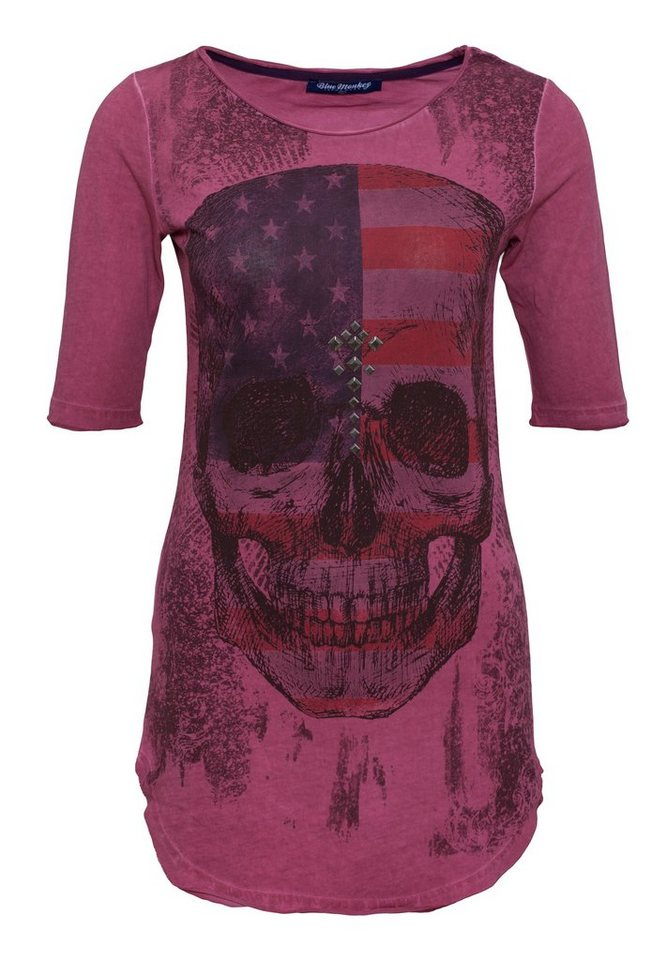 Blue Monkey Longshirt »Skull Style-2 19-2049« in fuchsia