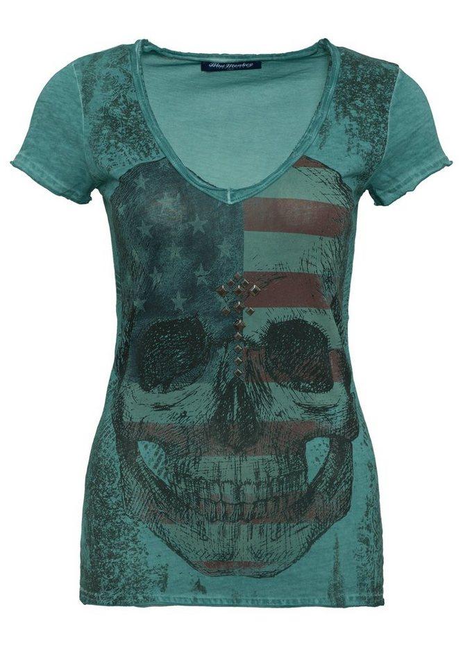 Blue Monkey Print-Shirt »Skull Style-1 17-4919« in green