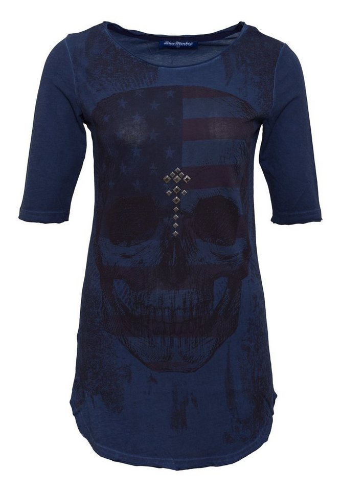 Blue Monkey Longshirt »Skull Style-2 19-2049« in navy