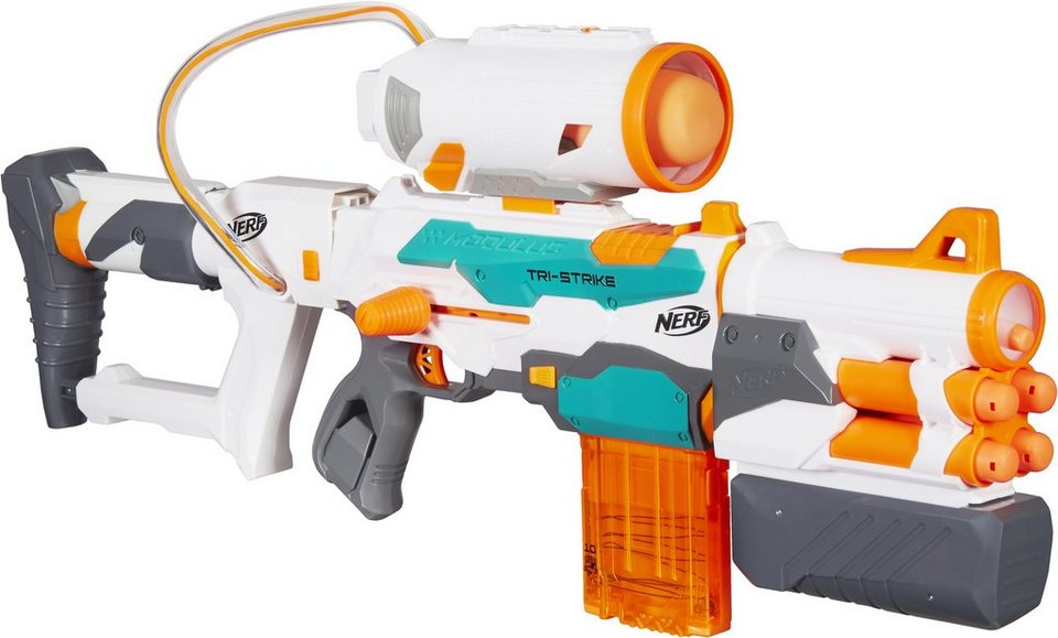 Hasbro Blaster mit Zubehörset, »Nerf N-Strike Elite Modulus, Tri-Strike Blaster + Zubehör«