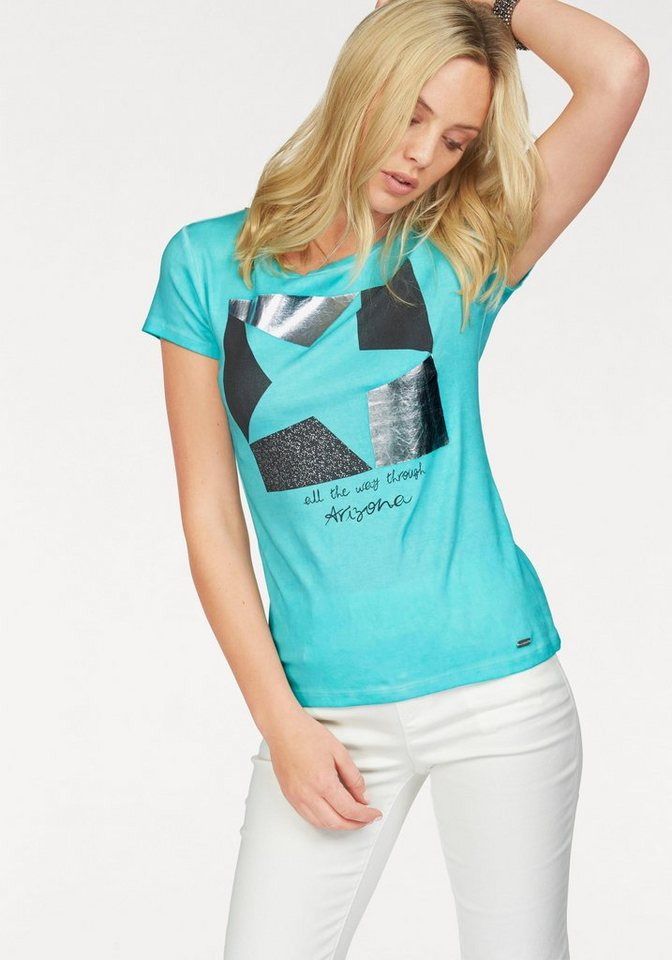 Arizona Print-Shirt mit Silberdruck in türkis