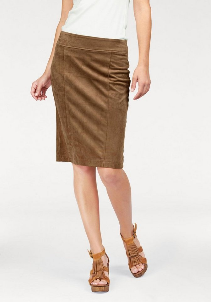 Boysen's Lederimitatrock »suede skirt« in trendiger Wildleder-Optik in cognac