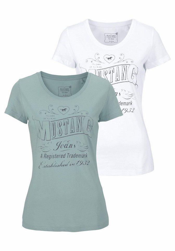 Mustang T-Shirt »Logo DP« Logo Print (Packung, 2 tlg., 2er-Pack) in mint+weiß