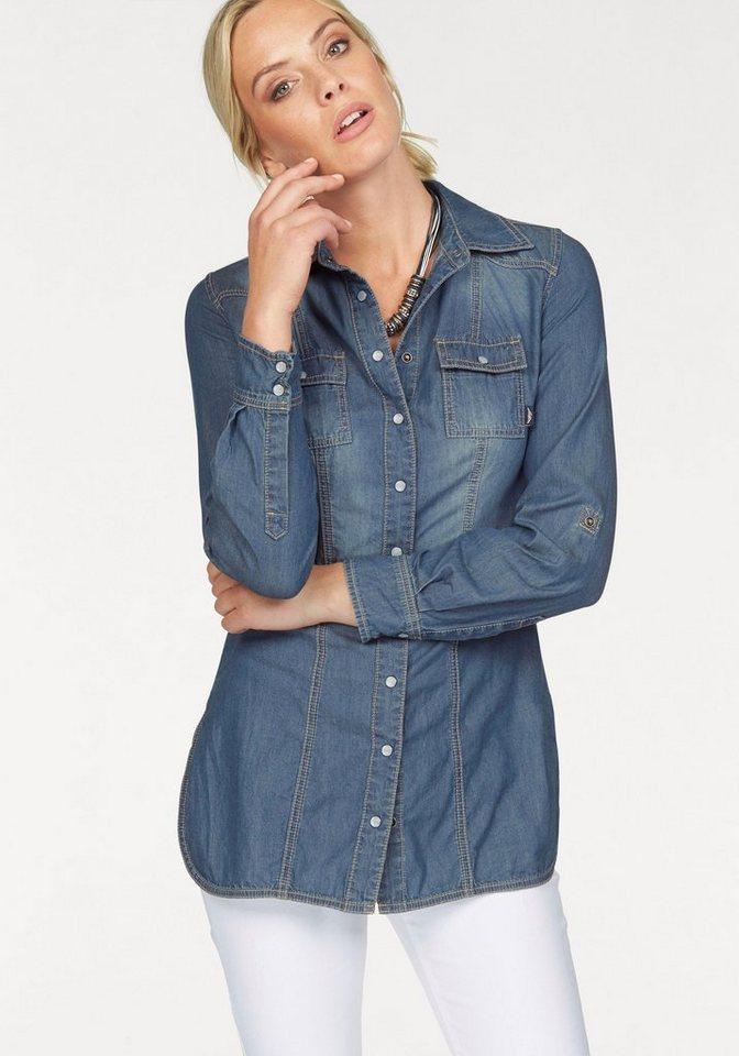 Arizona Jeansbluse Longform mit Perlmutt-Druckknöpfen in blue-stone