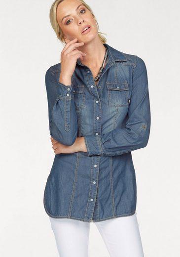 Arizona Jeansbluse, Longform mit Perlmutt-Druckknöpfen