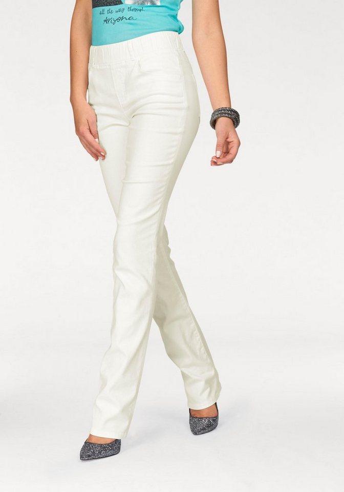 Arizona Gerade Jeans »Schlupfjeans« High Waist in wollweiß