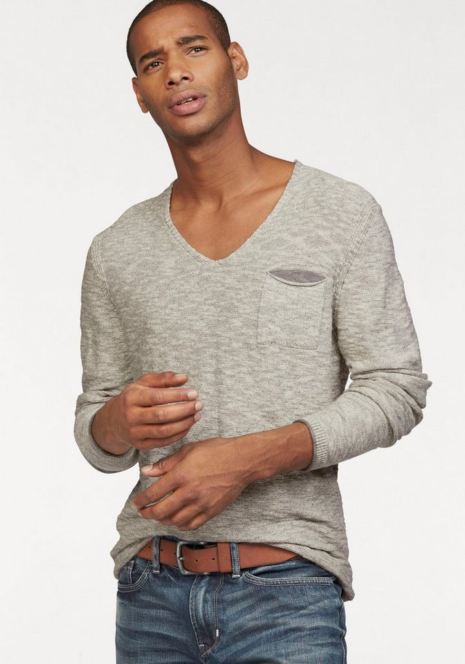 s.Oliver RED LABEL V-Ausschnitt-Pullover mit Brusttasche in offwhite-meliert