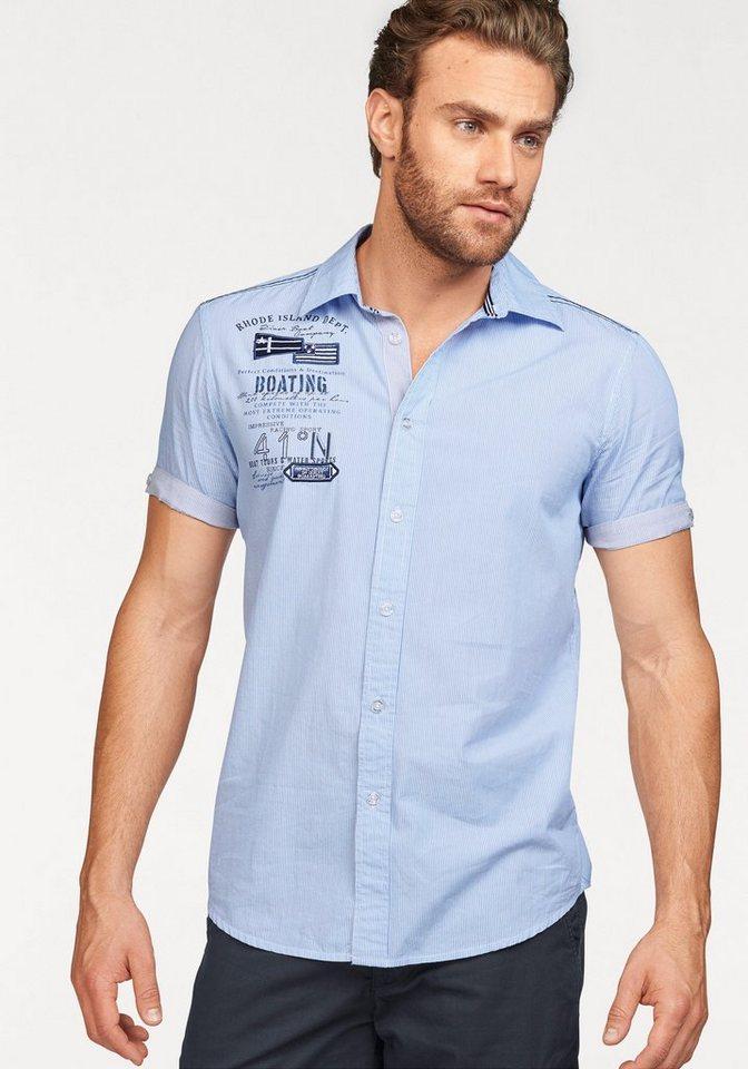 Rhode Island Kurzarmhemd in blau-weiß-gestreift