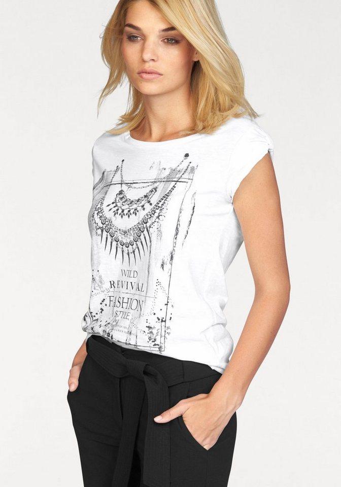 Laura Scott Rundhalsshirt mit Ziersteinen in weiß