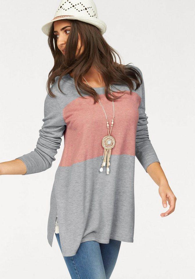 Boysen´s Longpullover »Colour-Blocking« mit tiefen Seitenschlitzen   Bekleidung > Pullover > Longpullover   Grau   Baumwolle   Boysen´s