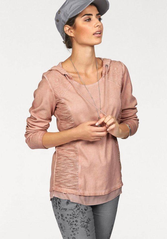Boysen's Kapuzensweatshirt overdyed mit Spitze und Chiffon-Saum in puder-rosa