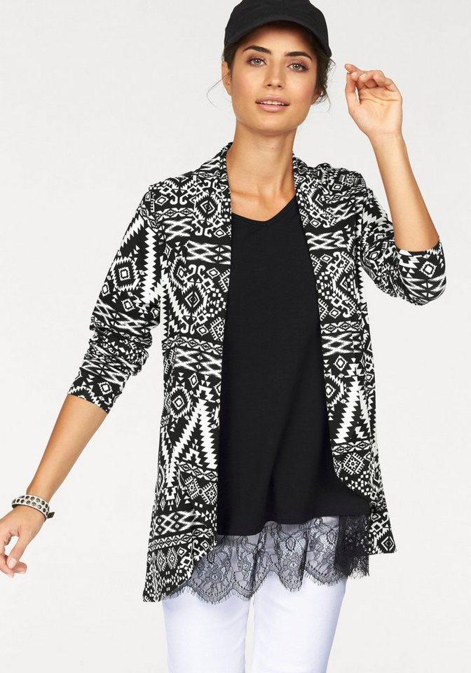 Boysen's Shirtjacke in Longform mit Ethno-Druck in schwarz-weiß