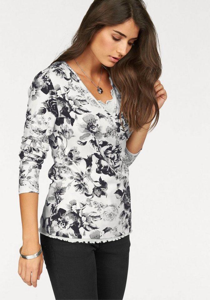Boysen's Wickelshirt mit tollem Blumendruck in wollweiß-schwarz