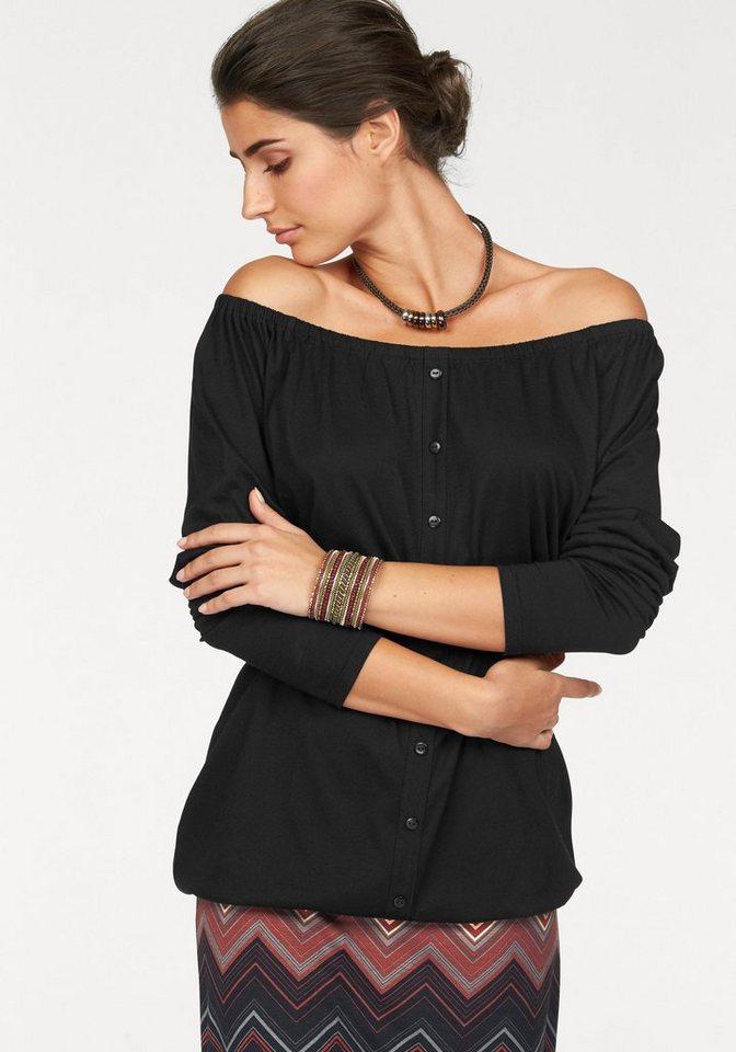 Boysen's Carmenshirt »Off-Shoulder« mit aufgesetzter Zierknopfleiste in schwarz