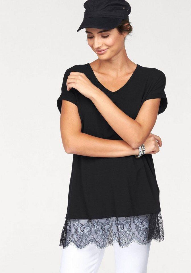 Boysen's Longshirt mit feiner Spitze am Saum in schwarz