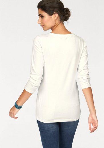 Boysen's Rundhalsshirt, mit sportiver Spitze in Jeans-Optik