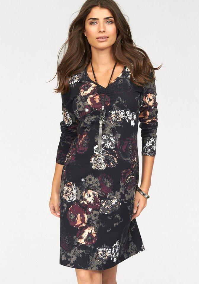 Boysen's Jerseykleid mit floralem Alloverdruck in schwarz-bordeaux