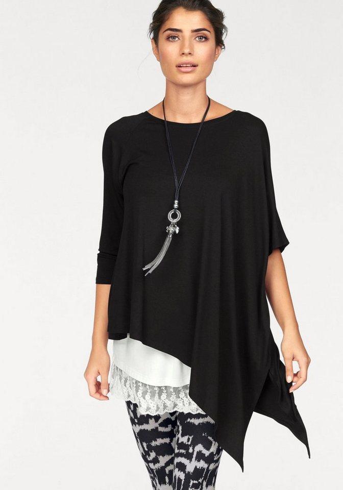 Boysen's Longshirt mit asymmetrischem Zipfelsaum in schwarz