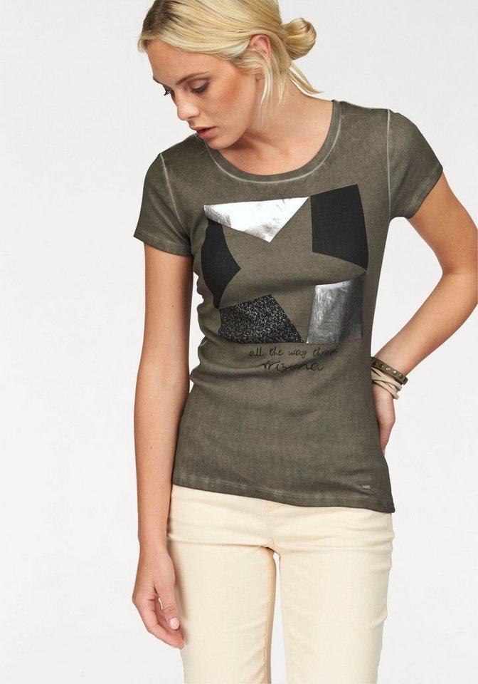 Arizona Print-Shirt mit Silberdruck in khaki