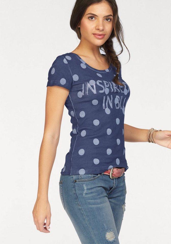 AJC T-Shirt im Punkte und Statement Druck in jeansblau-weiß
