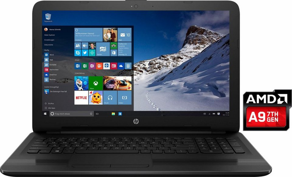 HP 15-ba101ng Notebook, AMD Dual Core, 39,6 cm (15,6 Zoll), 1000 GB Speicher, 8192 MB DDR4-SDRAM in schwarz