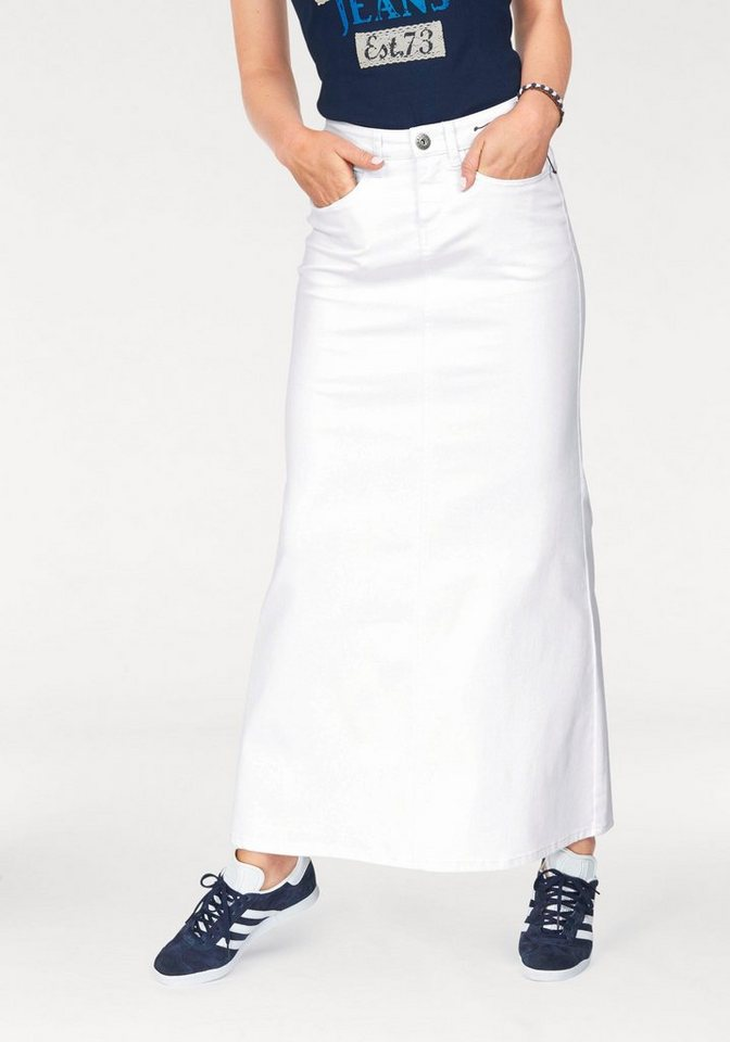 Arizona Jeansrock in Maxi Länge in weiß