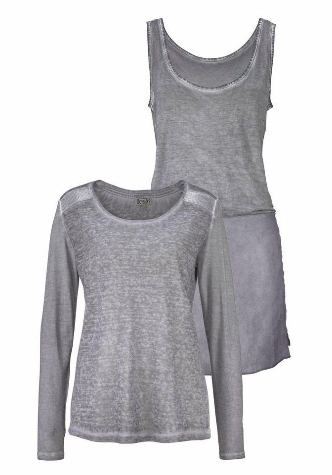Boysen's Longshirt im Lagen-Look mit Pailletten (Set, mit Top) in grau