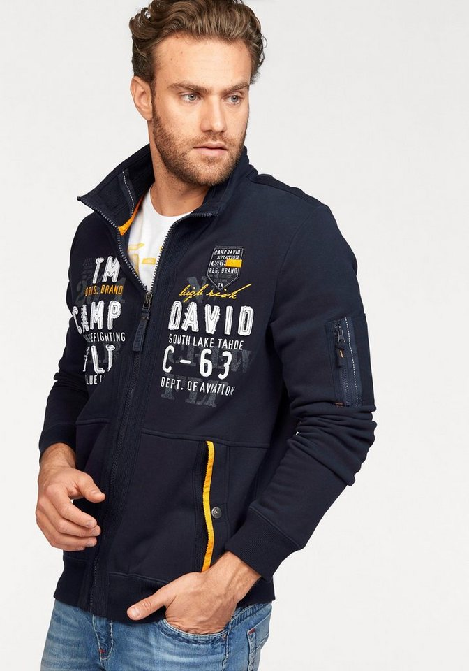 CAMP DAVID Sweatjacke in dark-navy