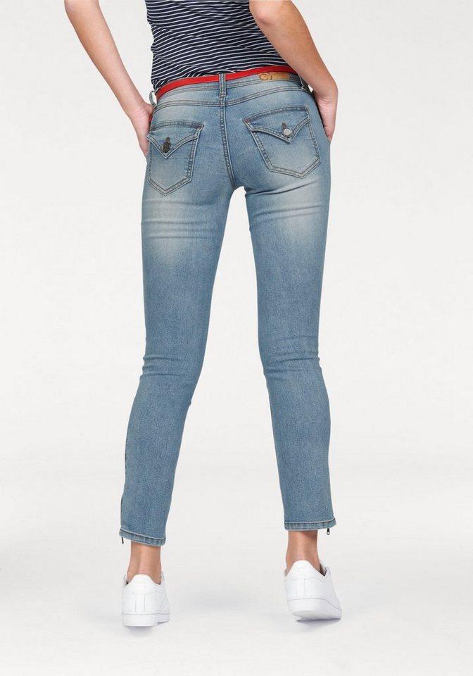 AJC 7/8-Jeans Röhre mit Reißverschluss am Saum in blue-used