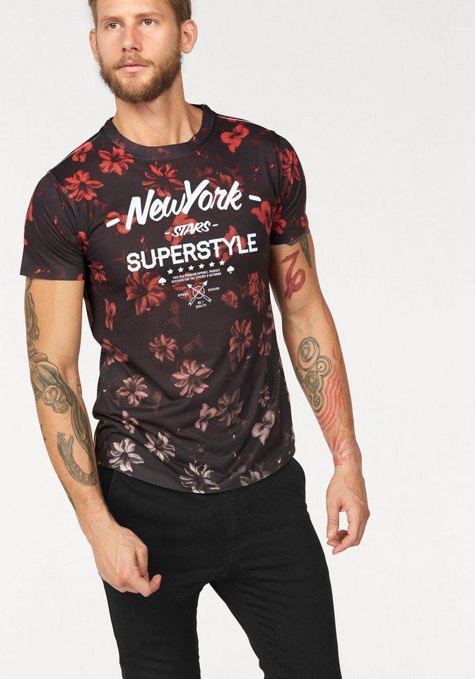 John Devin T-Shirt in schwarz-rot-bedruckt