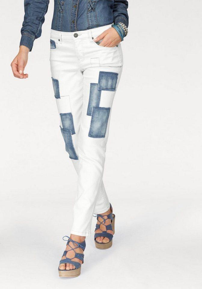 Arizona Boyfriend-Jeans mit Patches in white