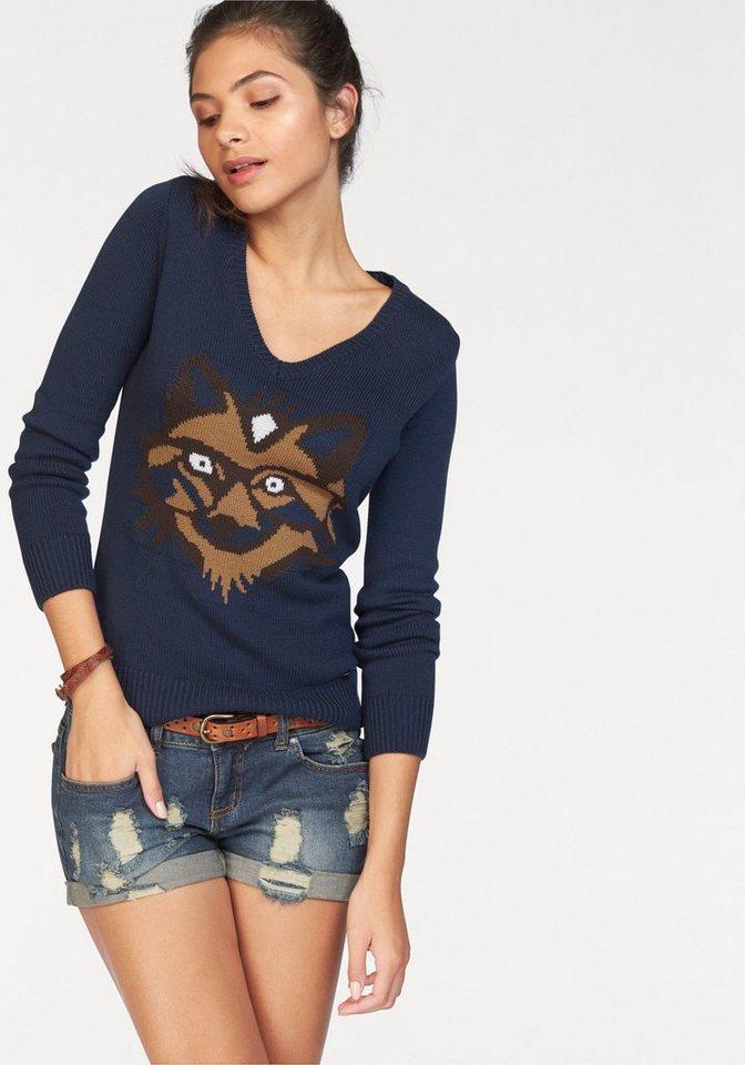 AJC V-Ausschnitt-Pullover mit eingestricktem Fuchs in blau-braun