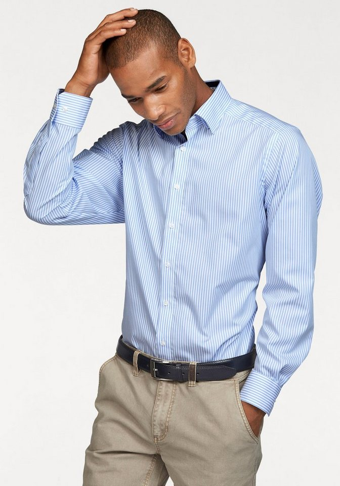 Class International Businesshemd in hellblau-weiß-gestreift