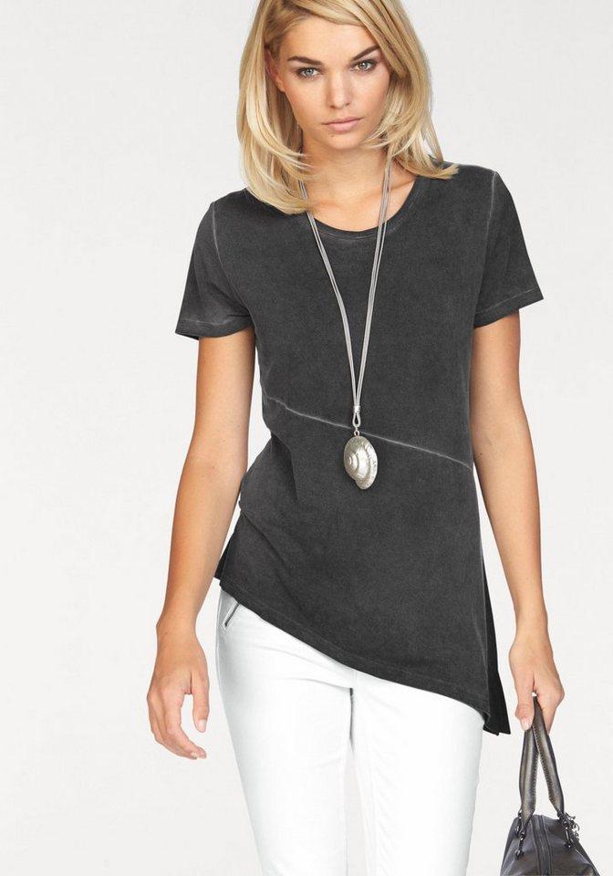 Laura Scott Rundhalsshirt mit modisch schrägem Saum in grau
