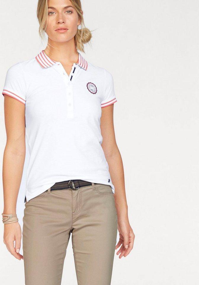 Tom Tailor Polo Team Poloshirt mit gestreiften Details an Kragen und Ärmelsaum in weiß