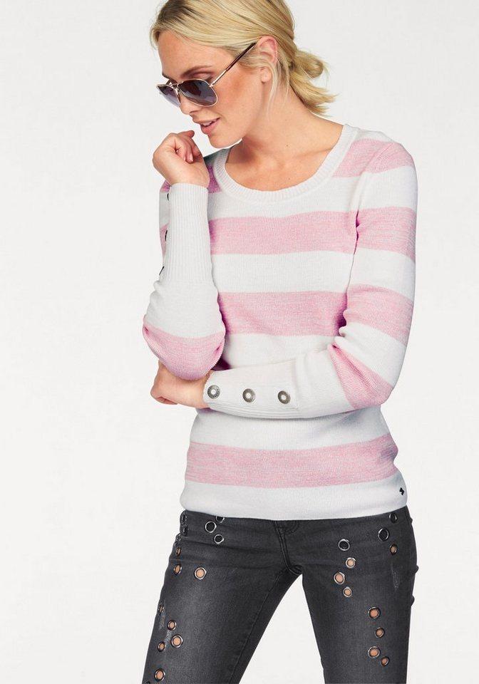 Arizona Streifenpullover mit Nieten-Besatz in weiß-rosé
