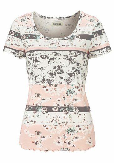 Boysen's T-Shirt, floral bedruckt in Streifen-Optik
