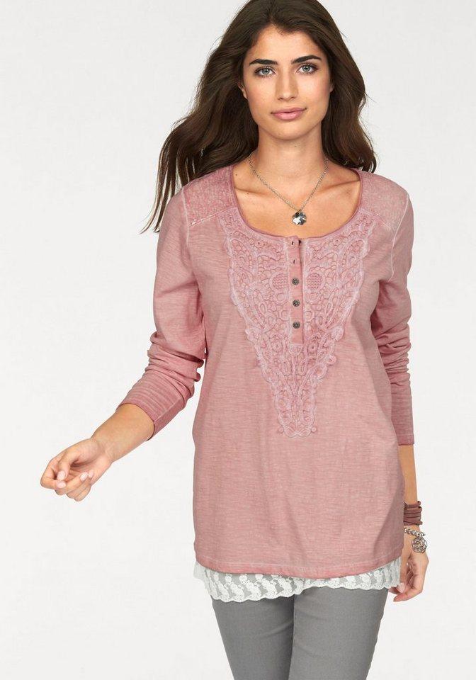Boysen's Langarmshirt overdyed mit Spitze und Pailletten besetzt in puder-rosa