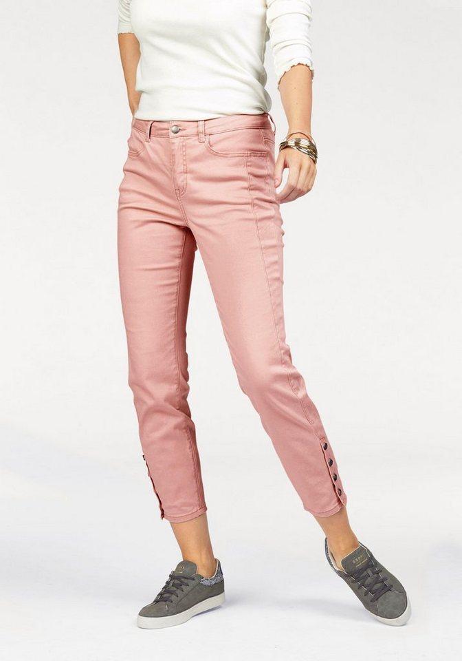 Boysen's 7/8-Hose mit dekorativer Knopfleitse am Saum in puder-rosa